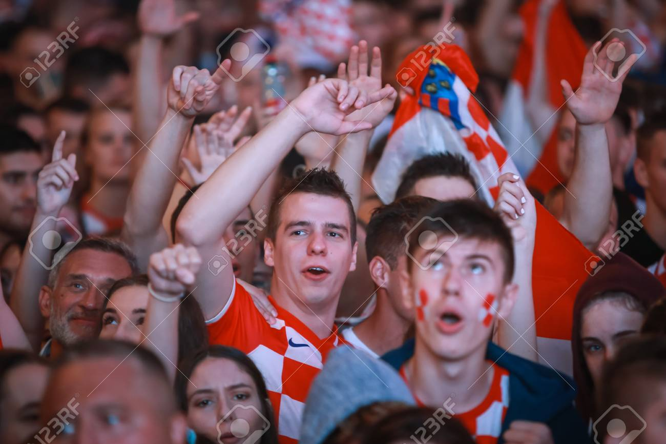 ZAGREB, CROATIA - JULY 11, 2018 : Croatian football fans celebrating