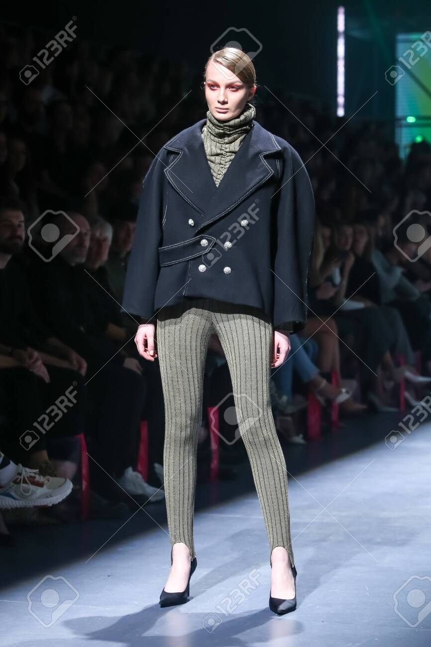 Zagreb, Croatia - October 24, 2019 : A model wearing Les Emaux fashion collection on the catwalk at the Bipa Fashion.hr fashion show in Zagreb, Croatia. - 139613435