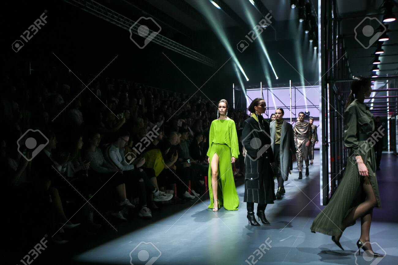 Zagreb, Croatia - October 24, 2019 : A model wearing Les Emaux fashion collection on the catwalk at the Bipa Fashion.hr fashion show in Zagreb, Croatia. - 139613437