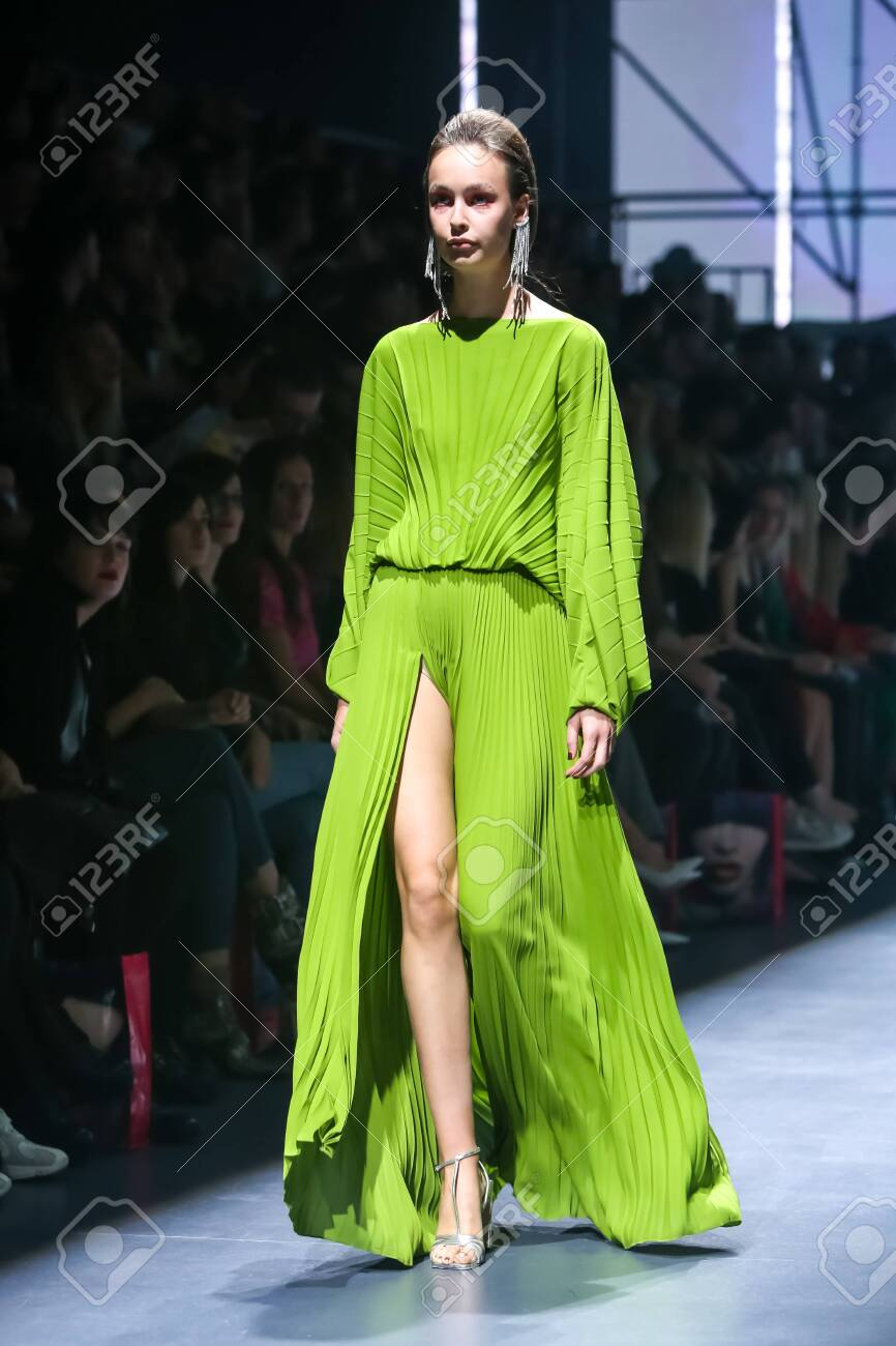 Zagreb, Croatia - October 24, 2019 : A model wearing Les Emaux fashion collection on the catwalk at the Bipa Fashion.hr fashion show in Zagreb, Croatia. - 139613439