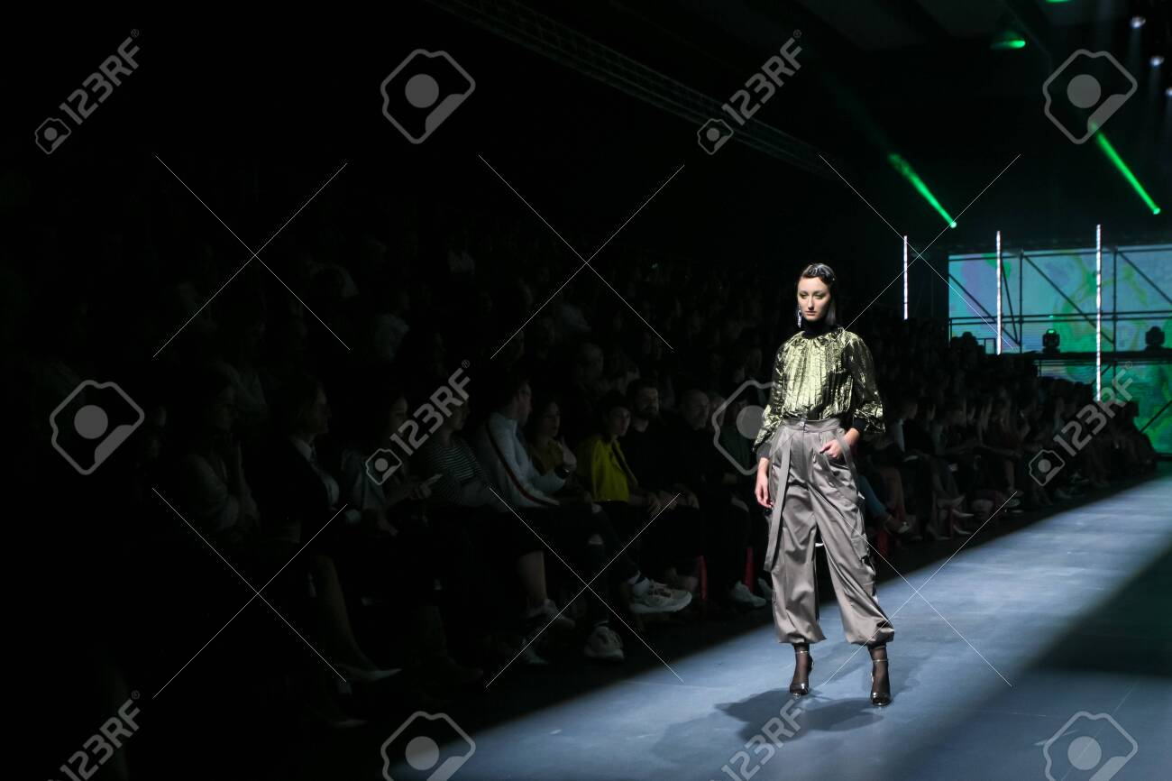 Zagreb, Croatia - October 24, 2019 : A model wearing Les Emaux fashion collection on the catwalk at the Bipa Fashion.hr fashion show in Zagreb, Croatia. - 139613441