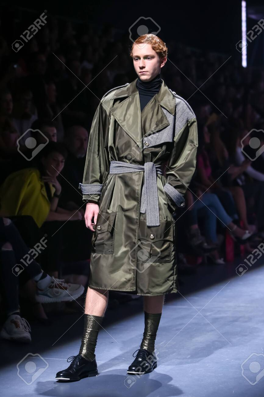 Zagreb, Croatia - October 24, 2019 : A model wearing Les Emaux fashion collection on the catwalk at the Bipa Fashion.hr fashion show in Zagreb, Croatia. - 139613444