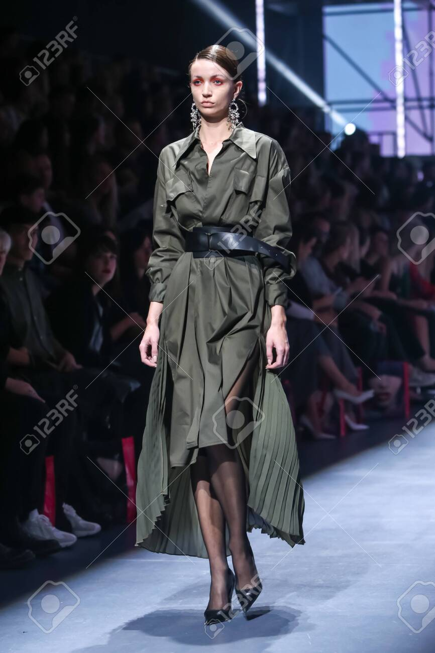 Zagreb, Croatia - October 24, 2019 : A model wearing Les Emaux fashion collection on the catwalk at the Bipa Fashion.hr fashion show in Zagreb, Croatia. - 139613445
