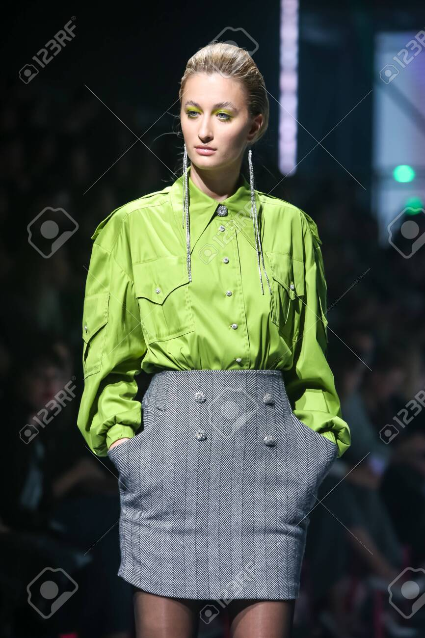 Zagreb, Croatia - October 24, 2019 : A model wearing Les Emaux fashion collection on the catwalk at the Bipa Fashion.hr fashion show in Zagreb, Croatia. - 139613446