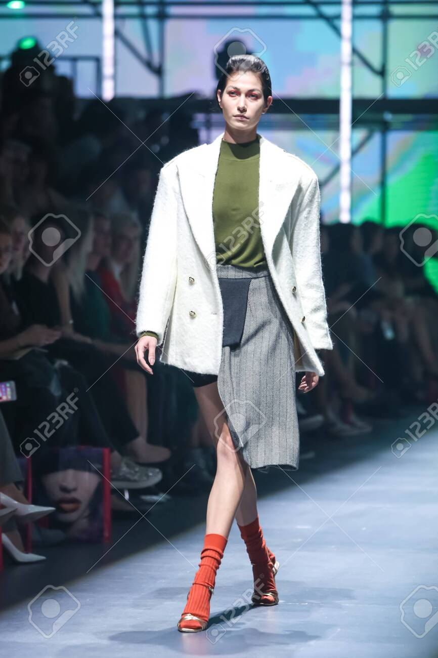 Zagreb, Croatia - October 24, 2019 : A model wearing Les Emaux fashion collection on the catwalk at the Bipa Fashion.hr fashion show in Zagreb, Croatia. - 139613447