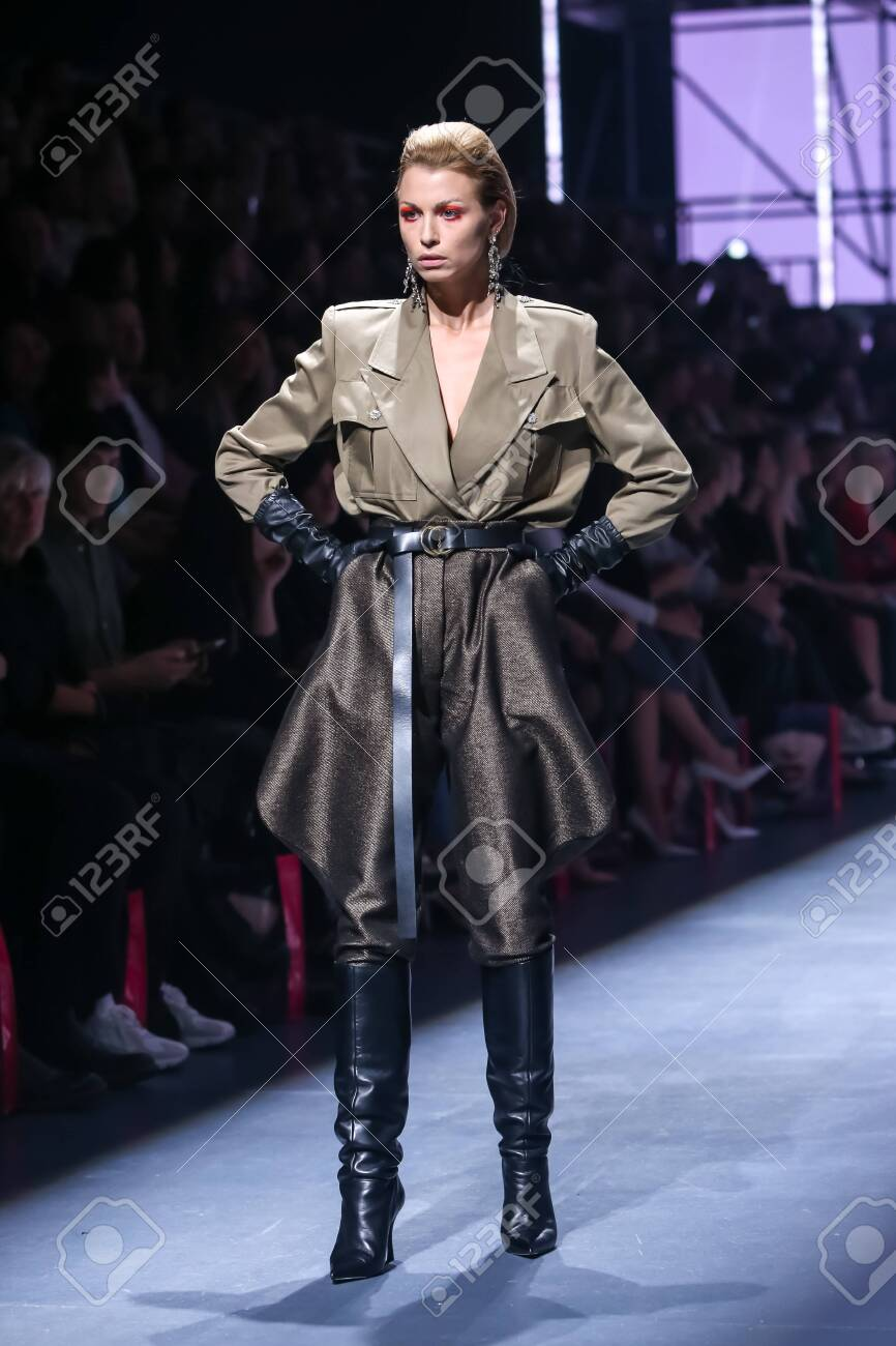 Zagreb, Croatia - October 24, 2019 : A model wearing Les Emaux fashion collection on the catwalk at the Bipa Fashion.hr fashion show in Zagreb, Croatia. - 139613461