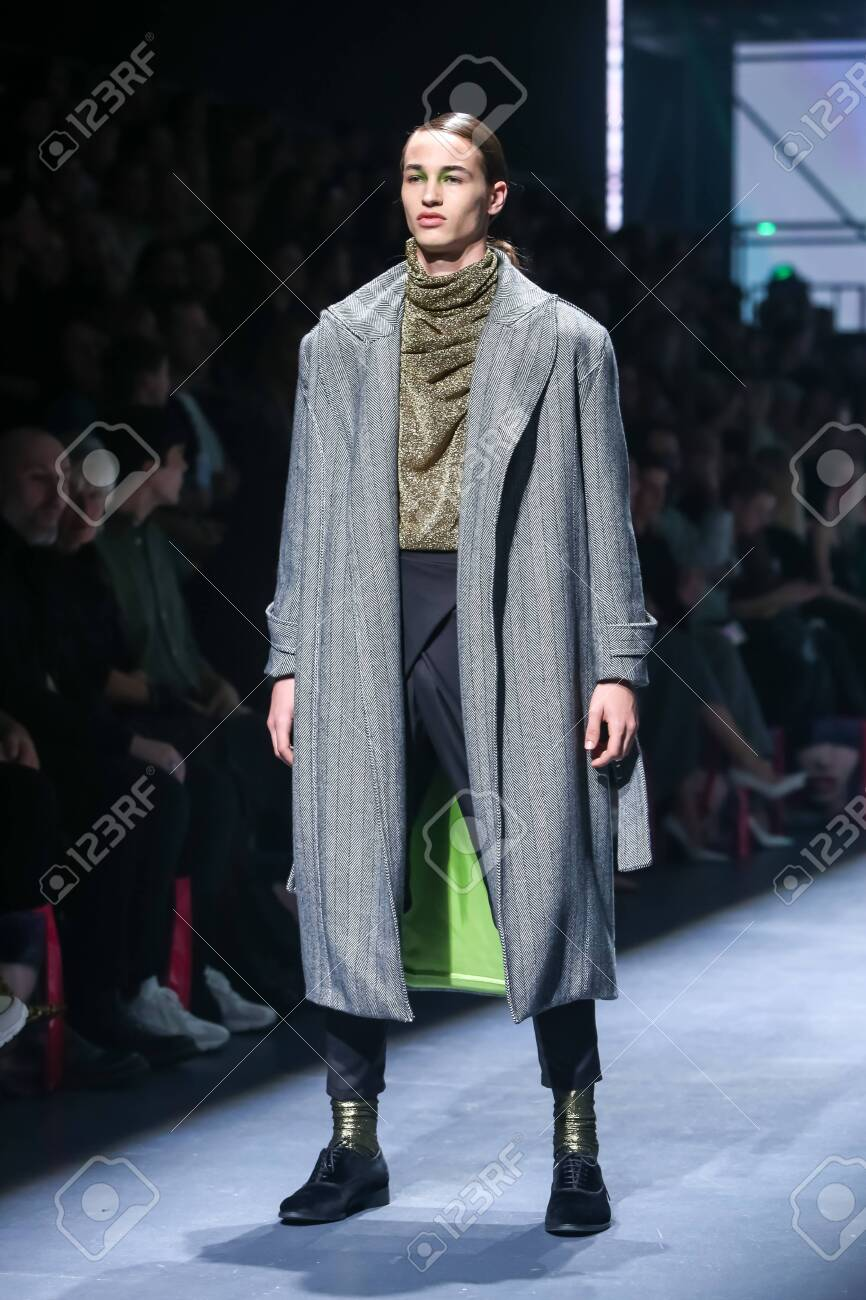 Zagreb, Croatia - October 24, 2019 : A model wearing Les Emaux fashion collection on the catwalk at the Bipa Fashion.hr fashion show in Zagreb, Croatia. - 139613462