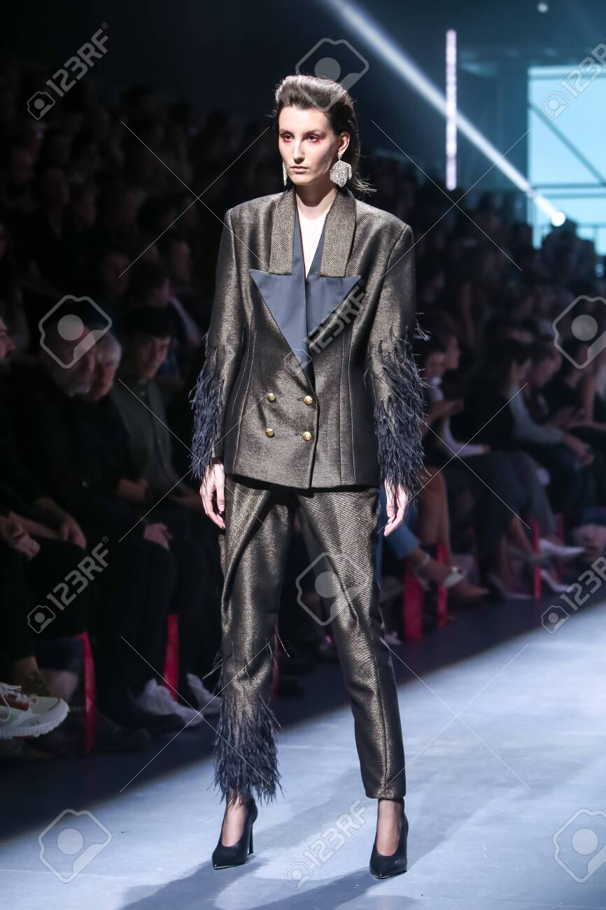 Zagreb, Croatia - October 24, 2019 : A model wearing Les Emaux fashion collection on the catwalk at the Bipa Fashion.hr fashion show in Zagreb, Croatia. - 139613464