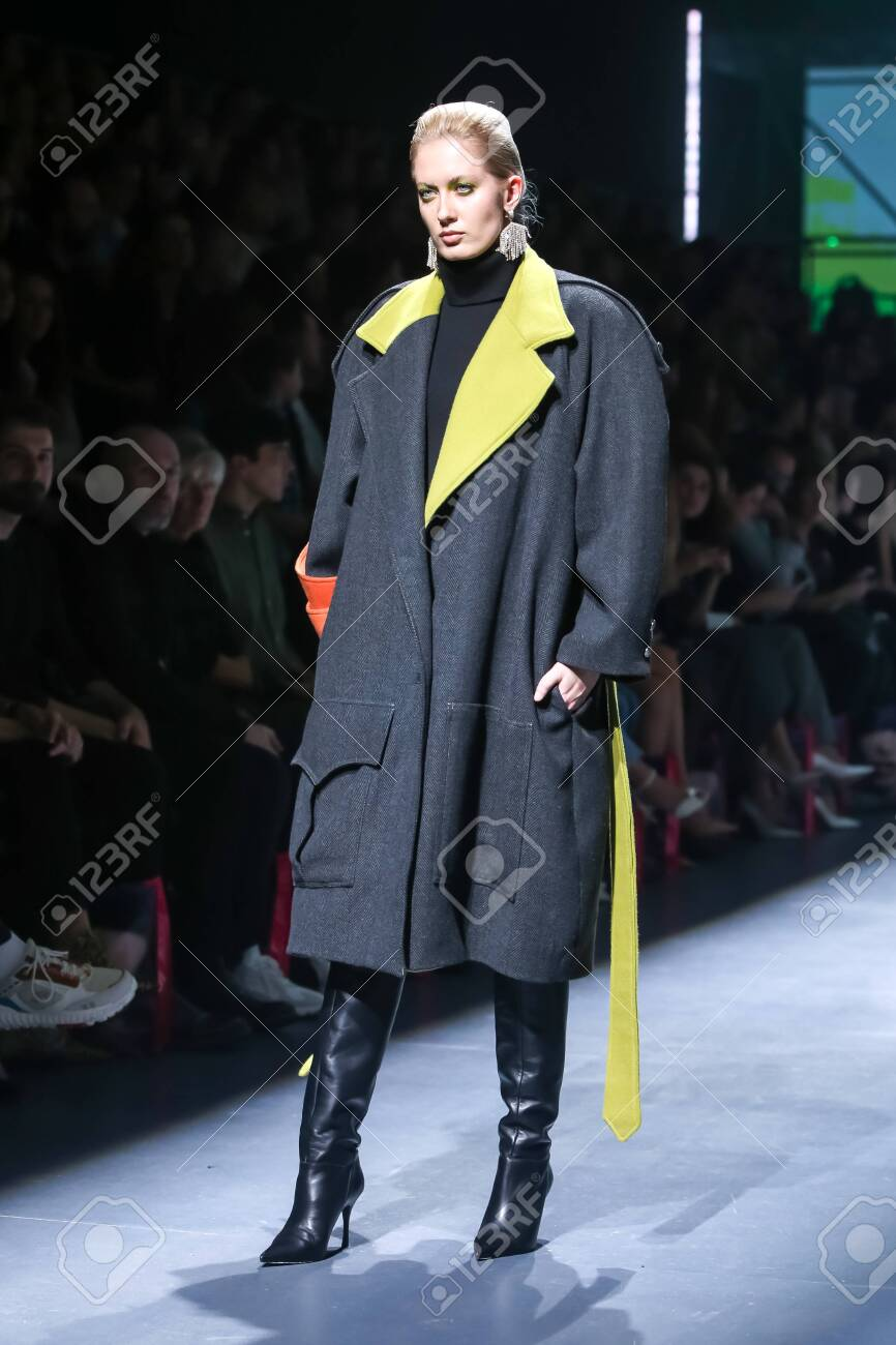 Zagreb, Croatia - October 24, 2019 : A model wearing Les Emaux fashion collection on the catwalk at the Bipa Fashion.hr fashion show in Zagreb, Croatia. - 139613465