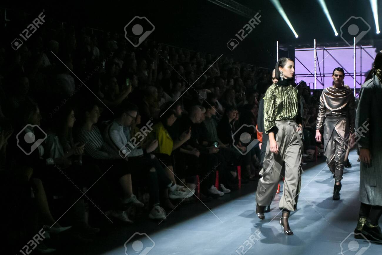 Zagreb, Croatia - October 24, 2019 : A model wearing Les Emaux fashion collection on the catwalk at the Bipa Fashion.hr fashion show in Zagreb, Croatia. - 139613469