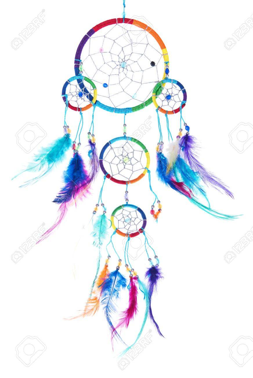 - Multicolored Dream Catcher. Decorative Item With A Lot Of Feathers