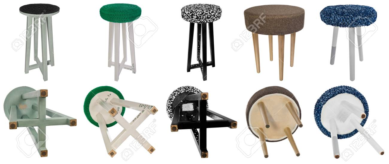 Handmade Stool. Hand Painted Wooden Chair Legs Wooden Multicolored  Patterns. Multicolor Seats In Triangular