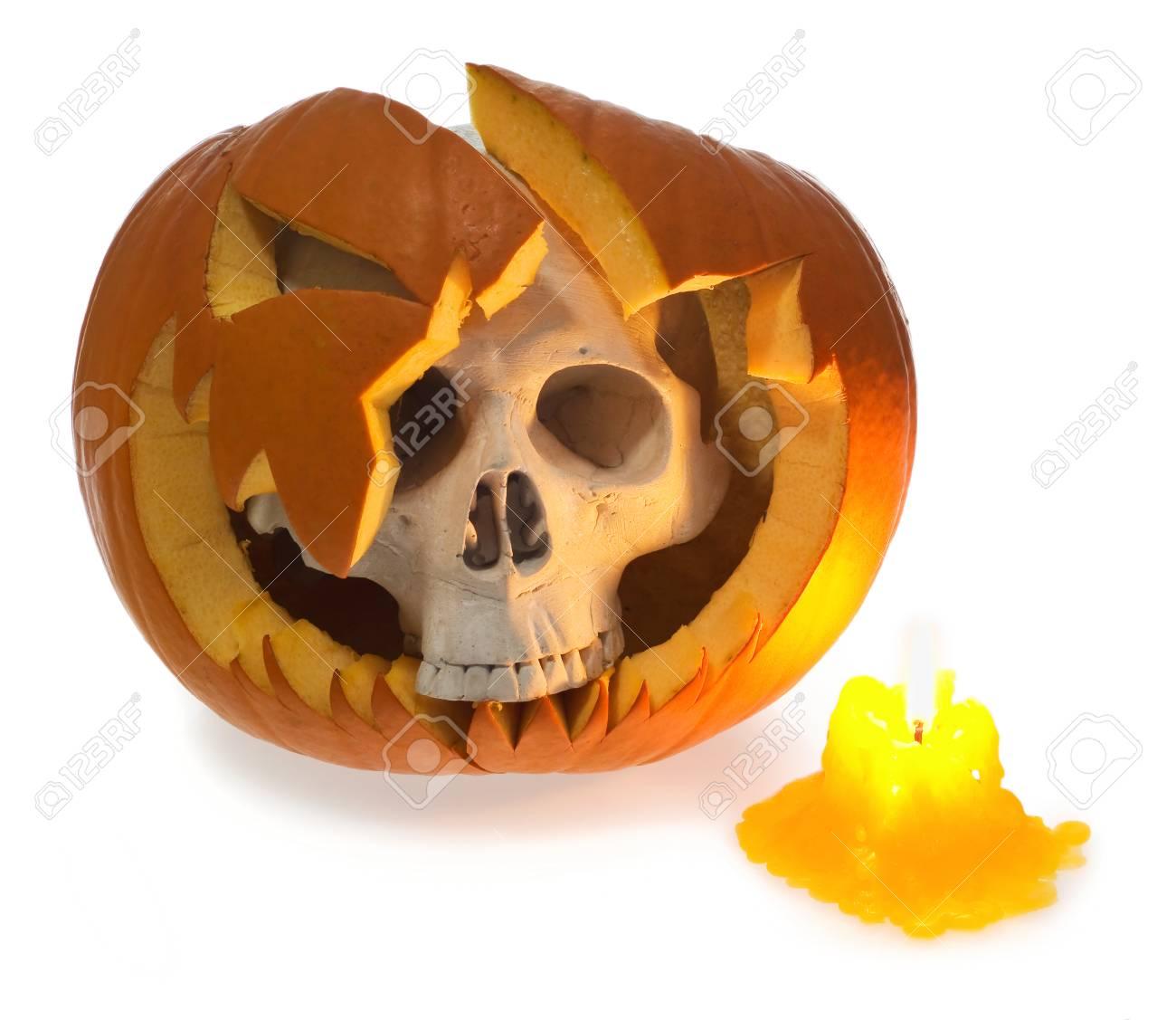 Halloween Ghost Human Skull Comes Out Of A Broken Pumpkin Skeleton