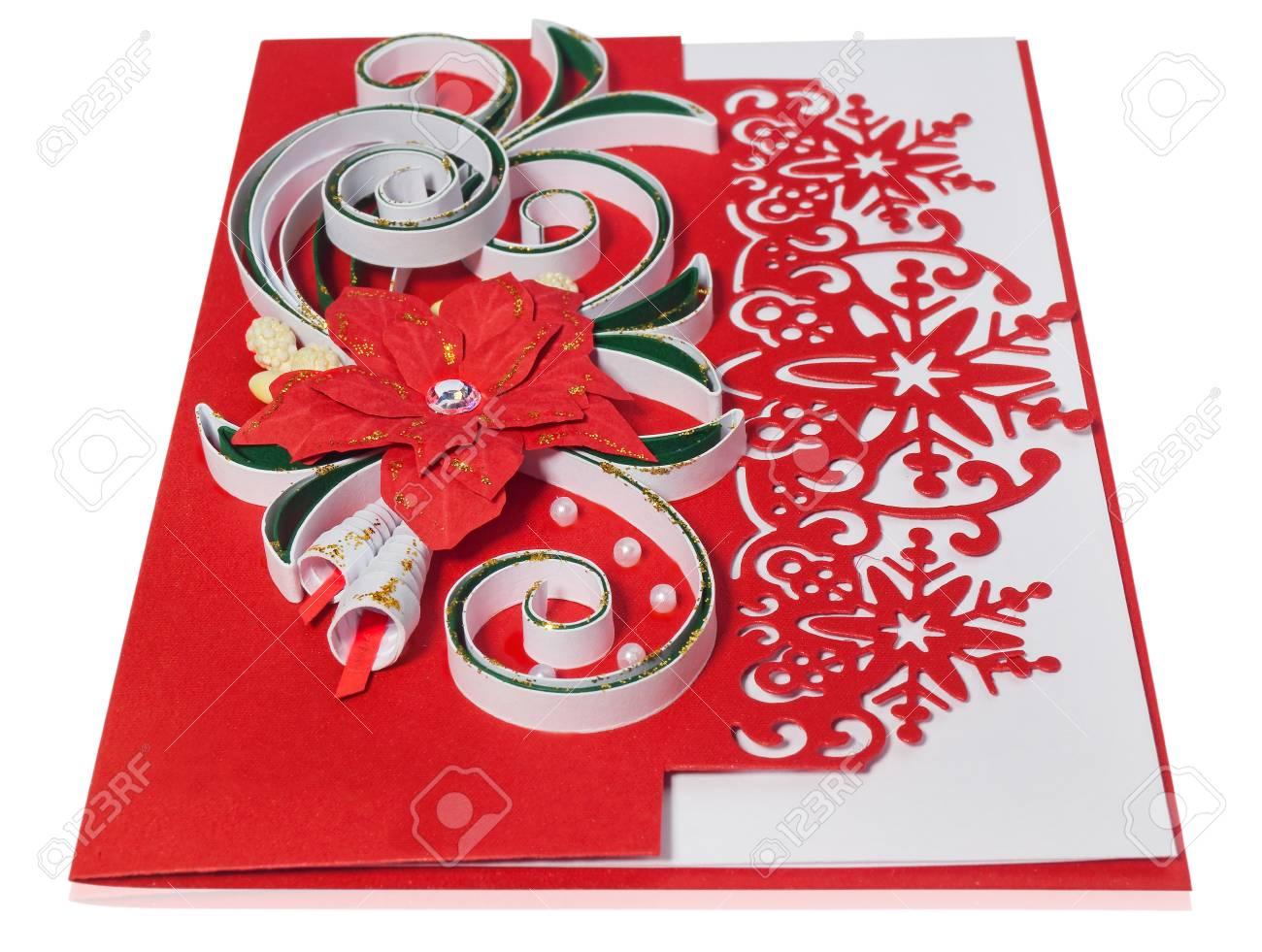 Handmade Christmas Card. Postcard With Merry Christmas Greetings ...