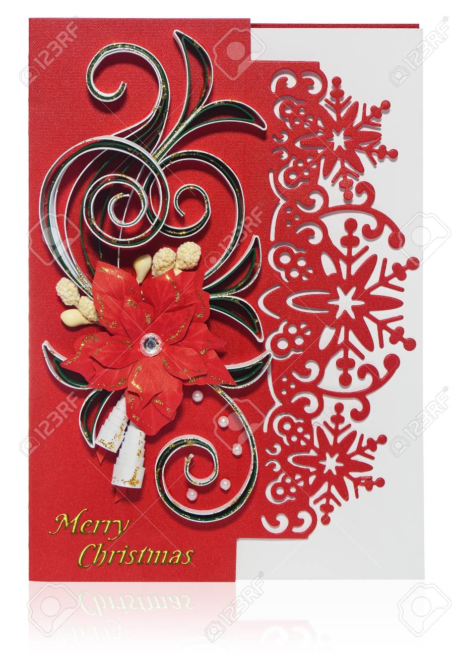 Handmade christmas card postcard with merry christmas greetings handmade christmas card postcard with merry christmas greetings hand decorated card with flower poinsettia m4hsunfo