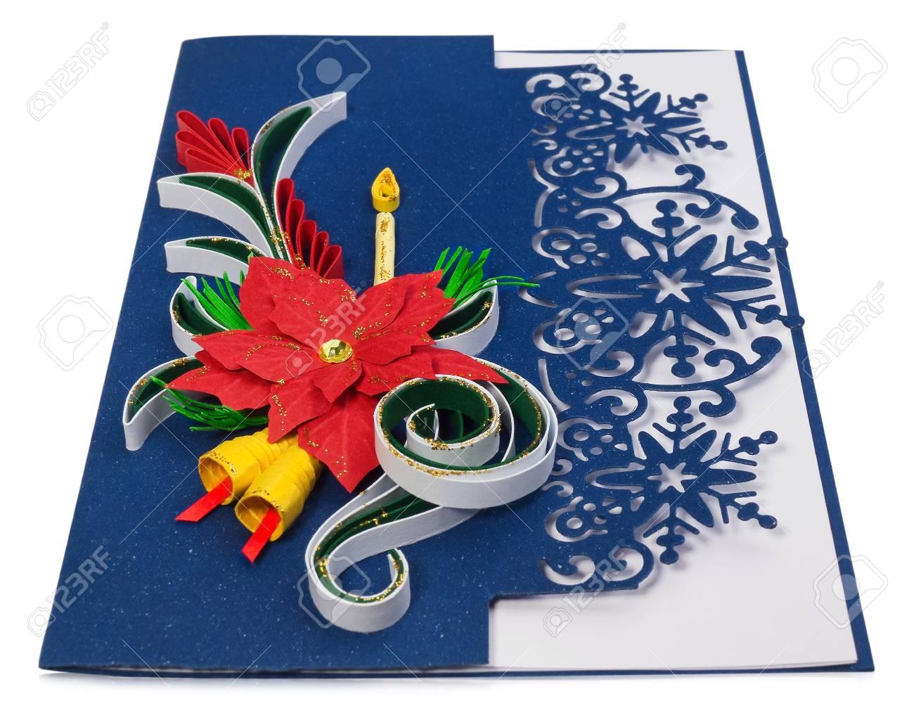 Handmade Christmas Card Images.Handmade Christmas Card Postcard With Merry Christmas Greetings