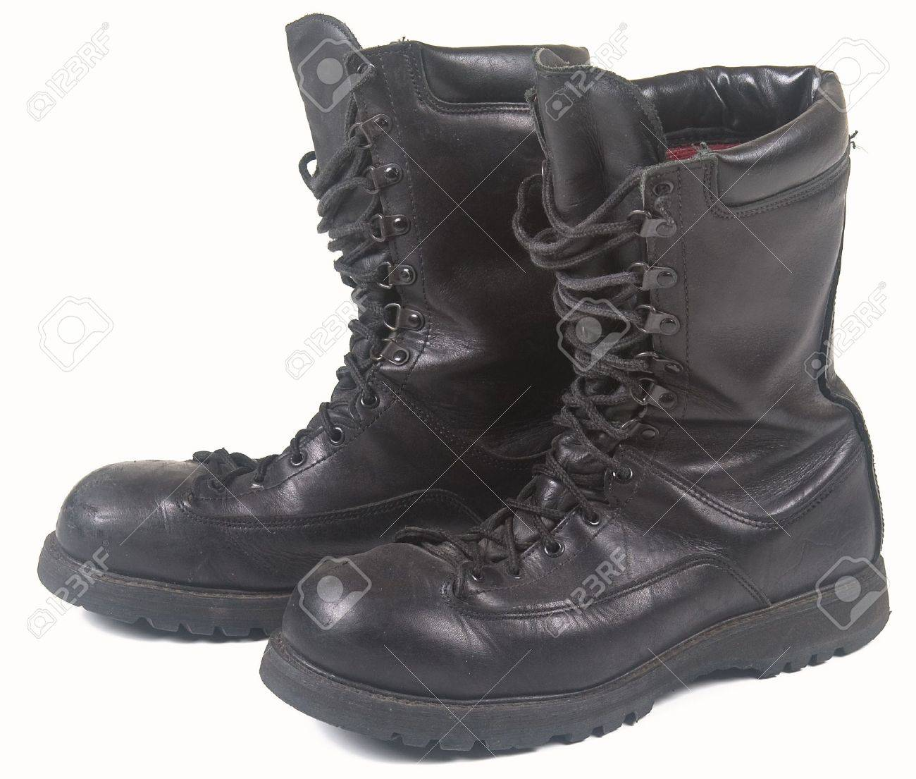 Military Black Leather Boots On A White Background Stock Photo