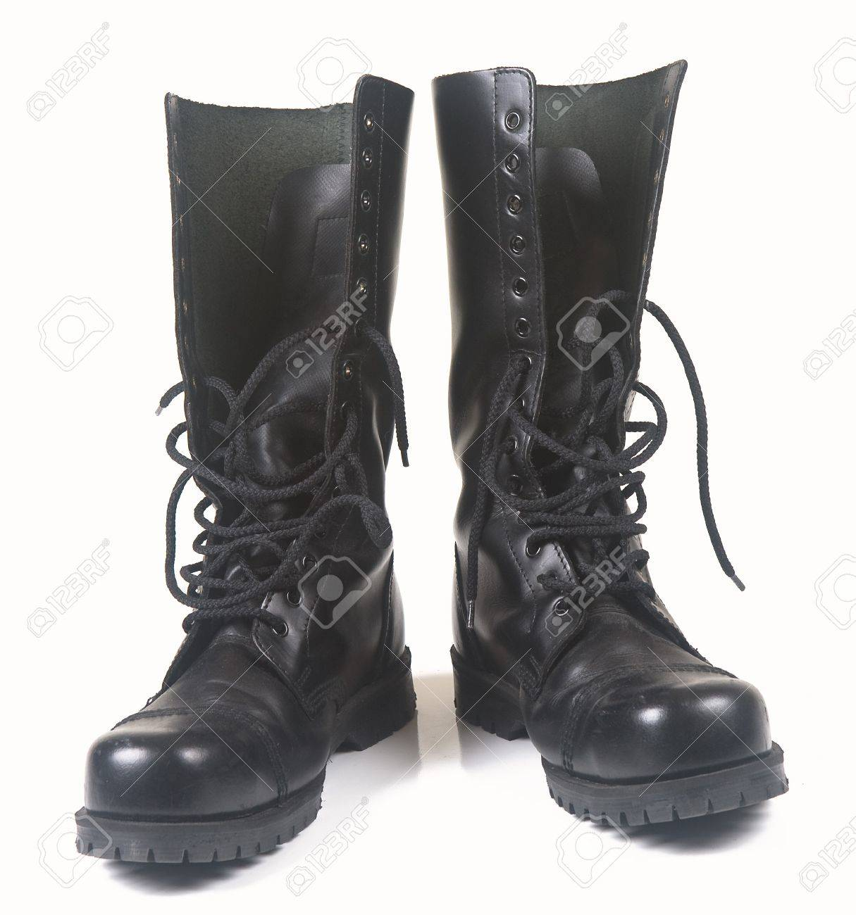 Steel Toe Black Leather Boots On White Background Stock Photo ...