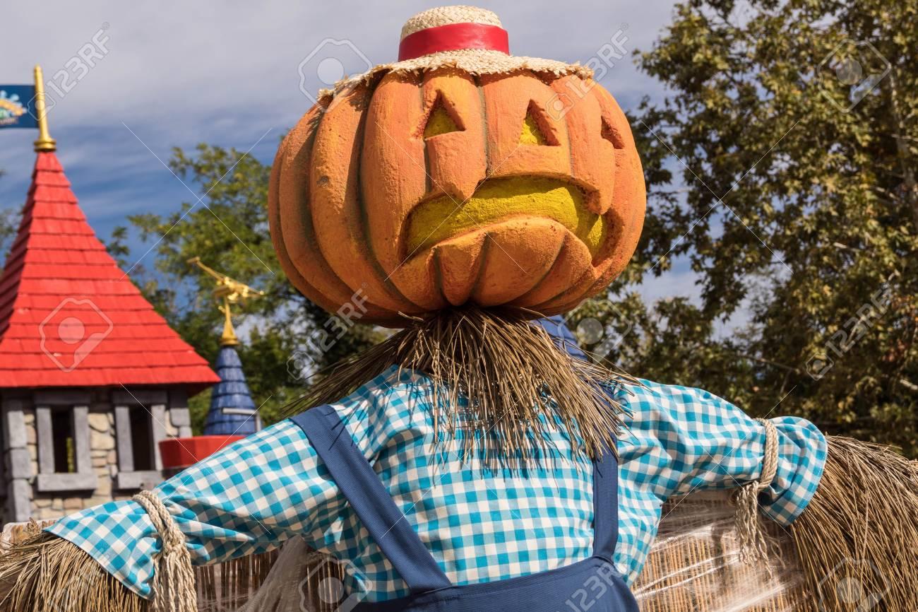 Halloween A Gardaland.A Dummie With Pumpkin Head At Gardaland Park In Verona Italy