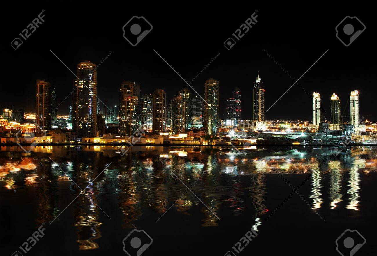 Dubai downtown at night reflected in water Stock Photo - 7072022