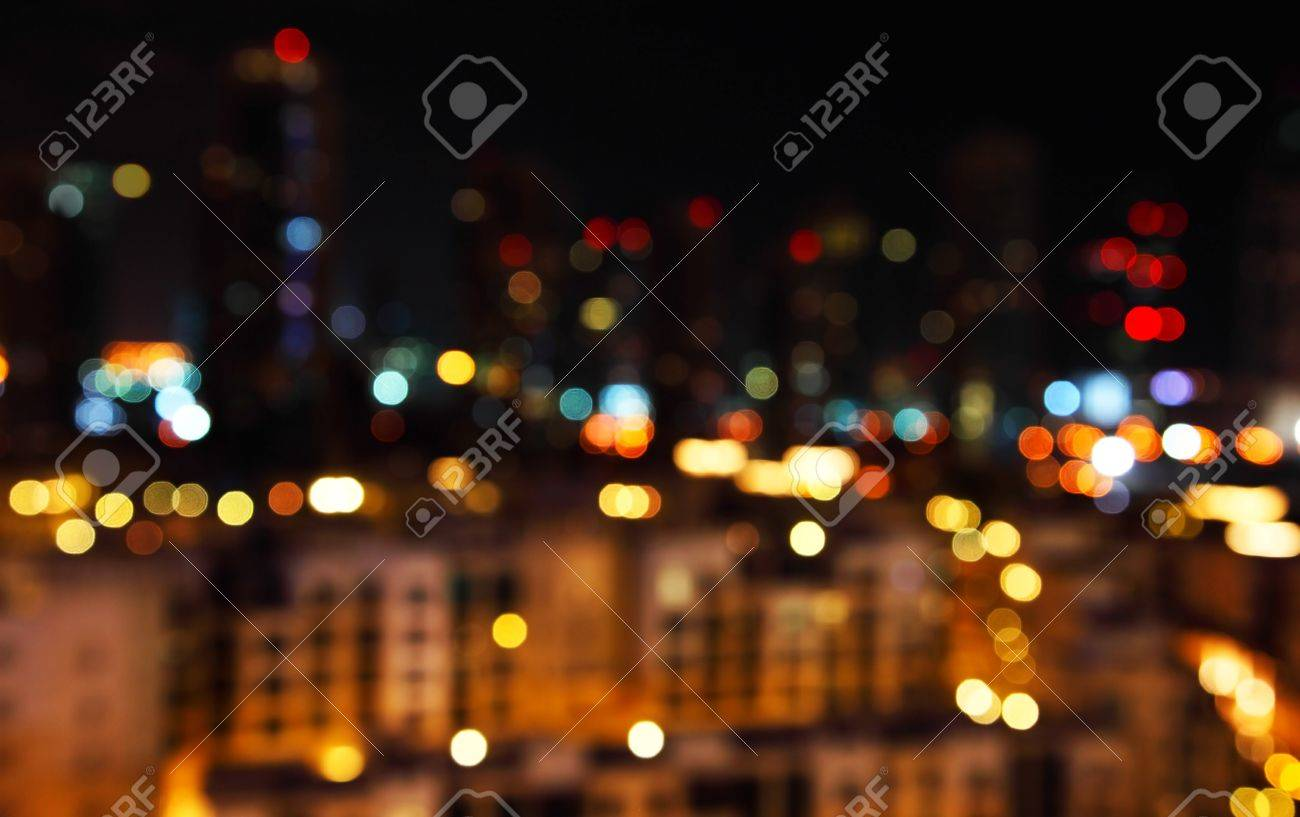 Abstract bokeh of defocused city lights Stock Photo - 7072016