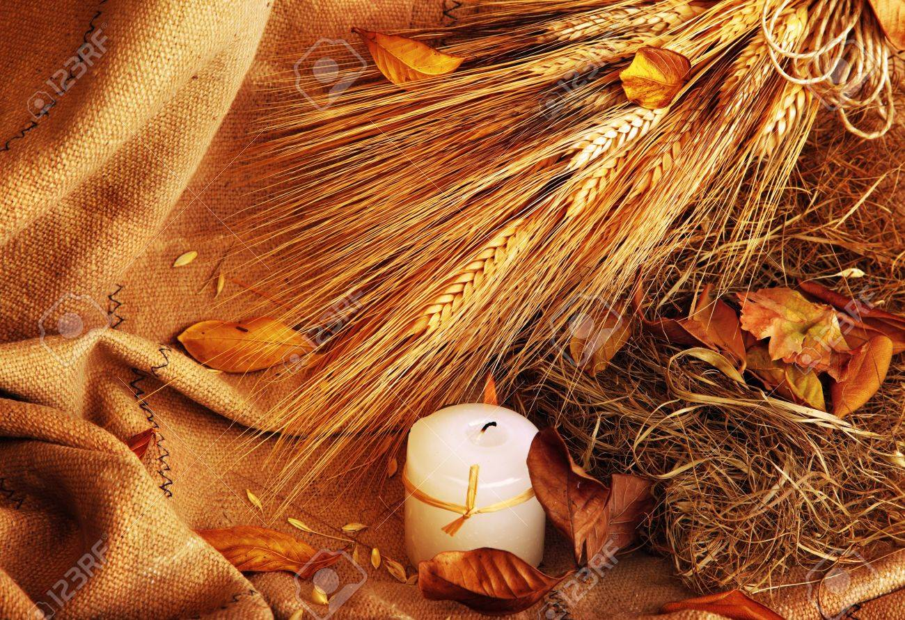 Grunge wheat background with autumn leaves & candle Stock Photo - 7610390