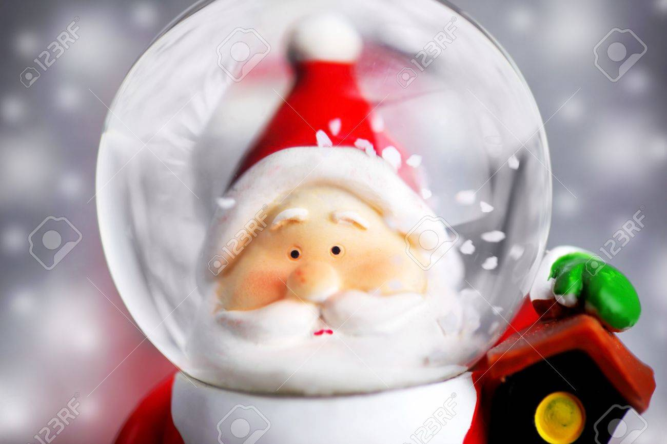 Santa Claus in the snow globe, closeup on Christmas ornament, decorative toy Stock Photo - 8184122