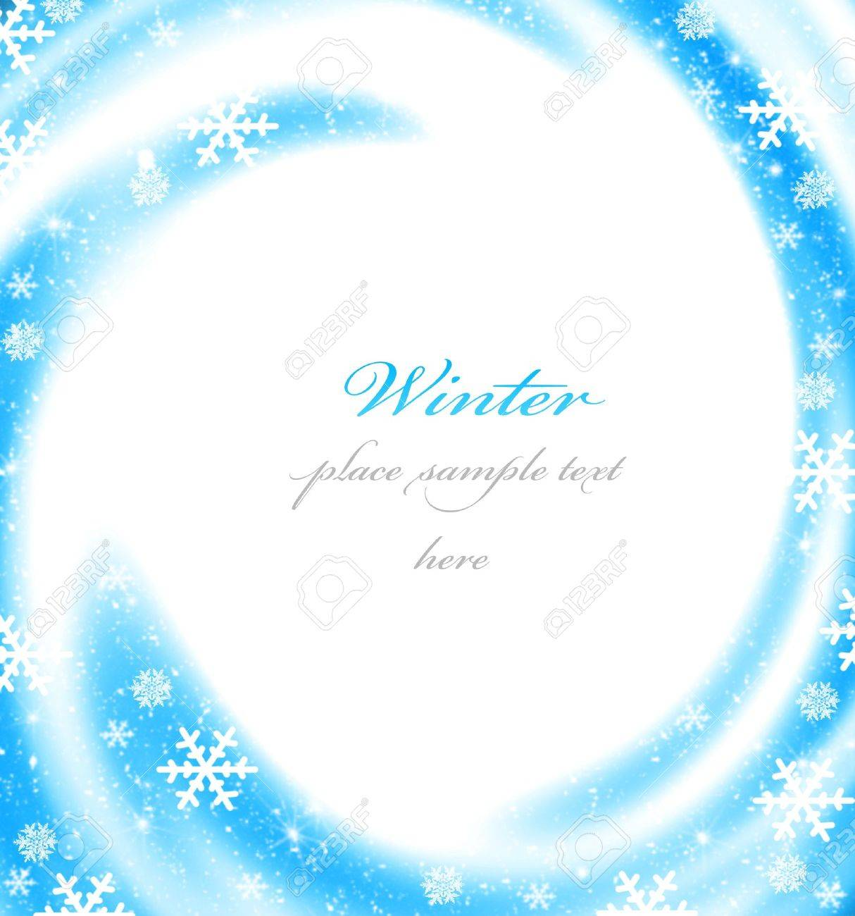 Abstract Christmas Border Card Decoration With Blue Winter Ornament As Holiday Frame Background Stock Photo