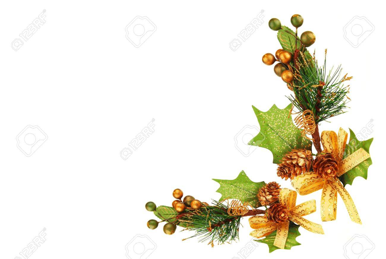 Christmas ornament frames - Holiday Frame Border With Christmas Tree Branch Ornament As Winter Decoration Isolated On White Background Stock