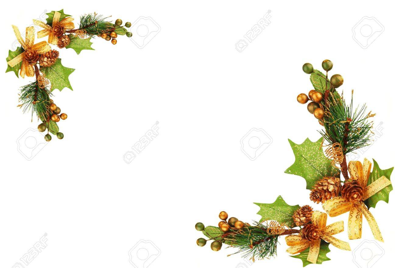 Christmas ornament frame - Holiday Frame Border With Christmas Tree Branch Ornament As Winter Decoration Isolated On White Background Stock