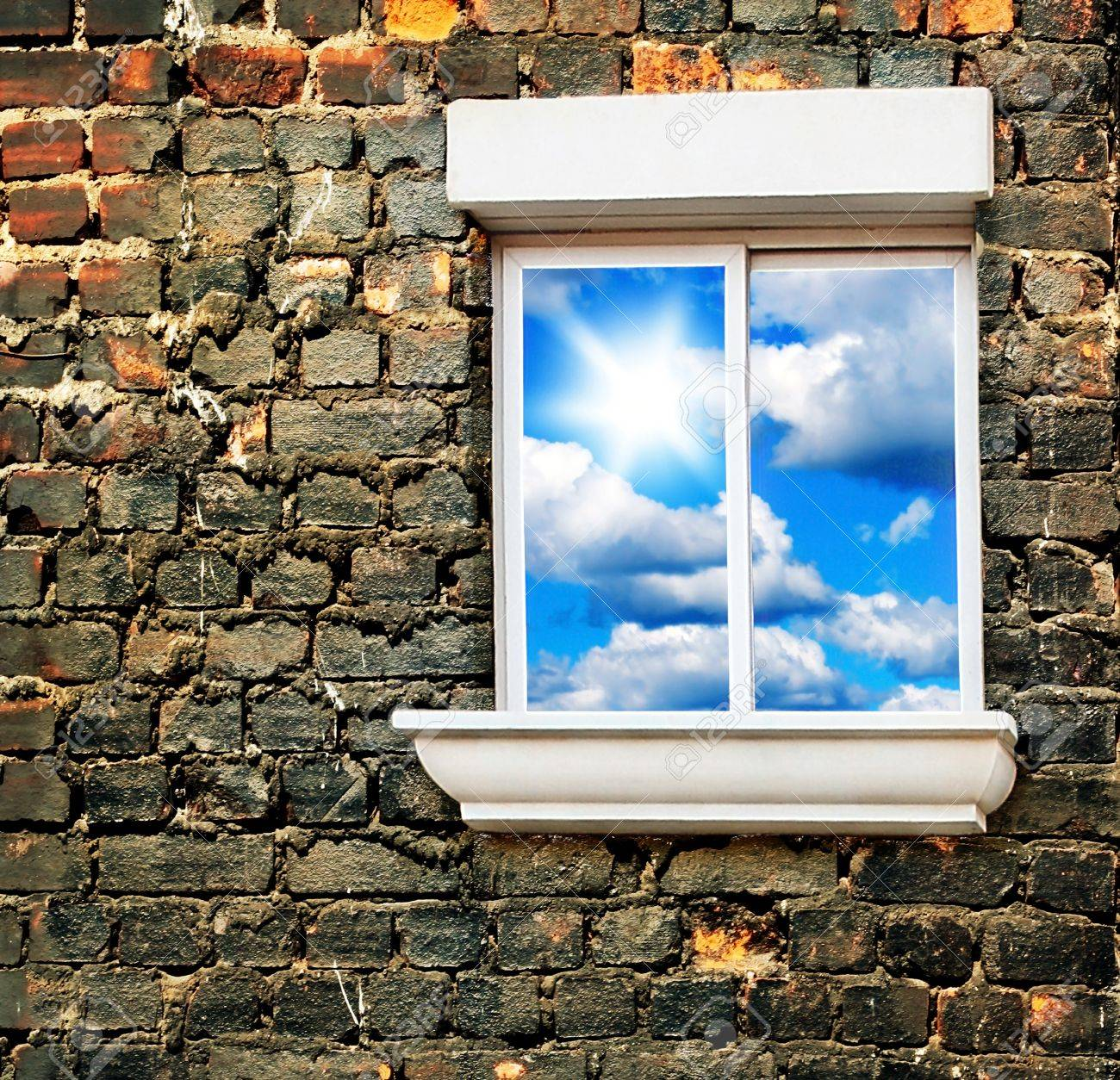 Sky window over old brick wall, conceptual image of freedom Stock Photo - 8668807