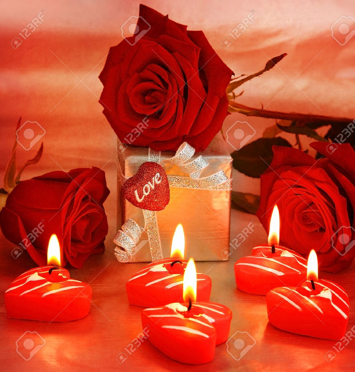 romantic gift  red roses with candles, love concept stock photo, Beautiful flower