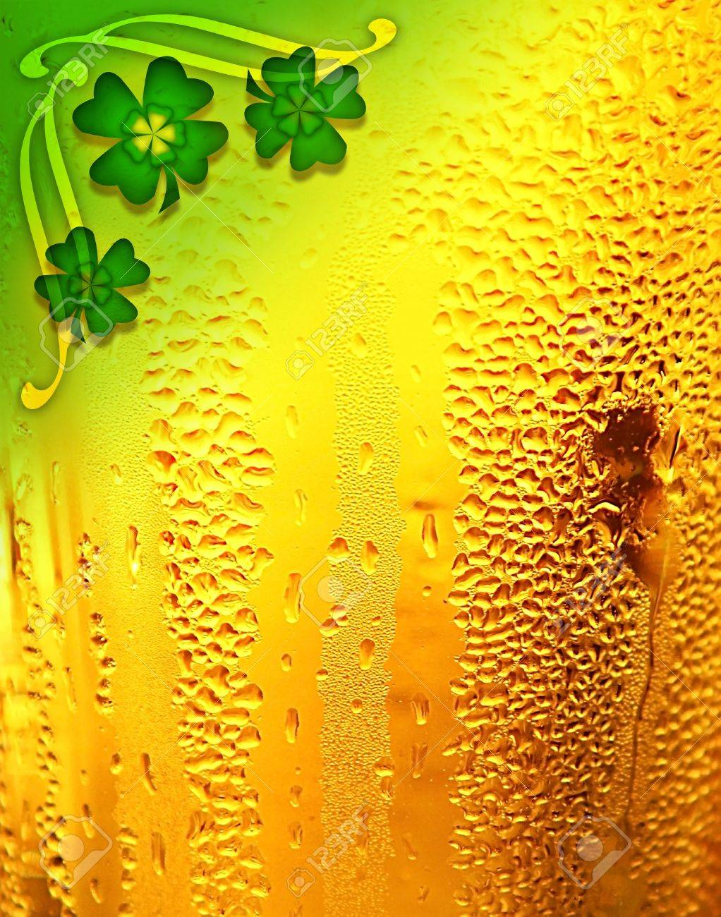 Beer background with clover border, St.Patrick's day holiday celebration, lucky concept Stock Photo - 8968119