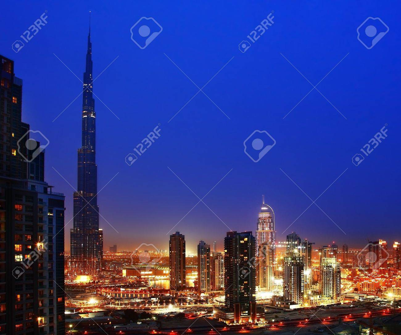 Dubai downtown night scene with city lights Stock Photo - 9327302