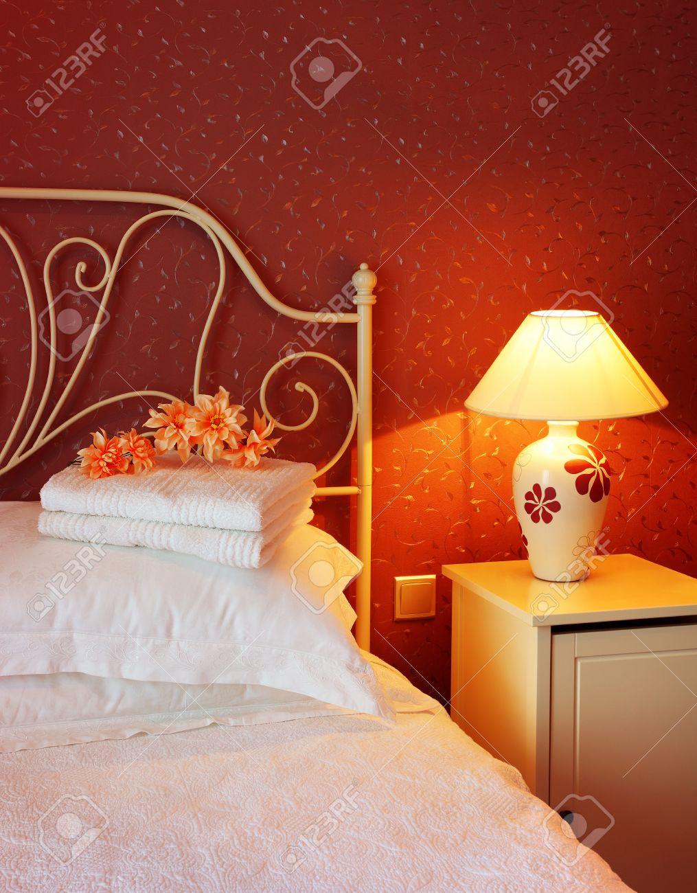 Romantic bedroom luxury interior design with warm light Stock Photo - 9452816