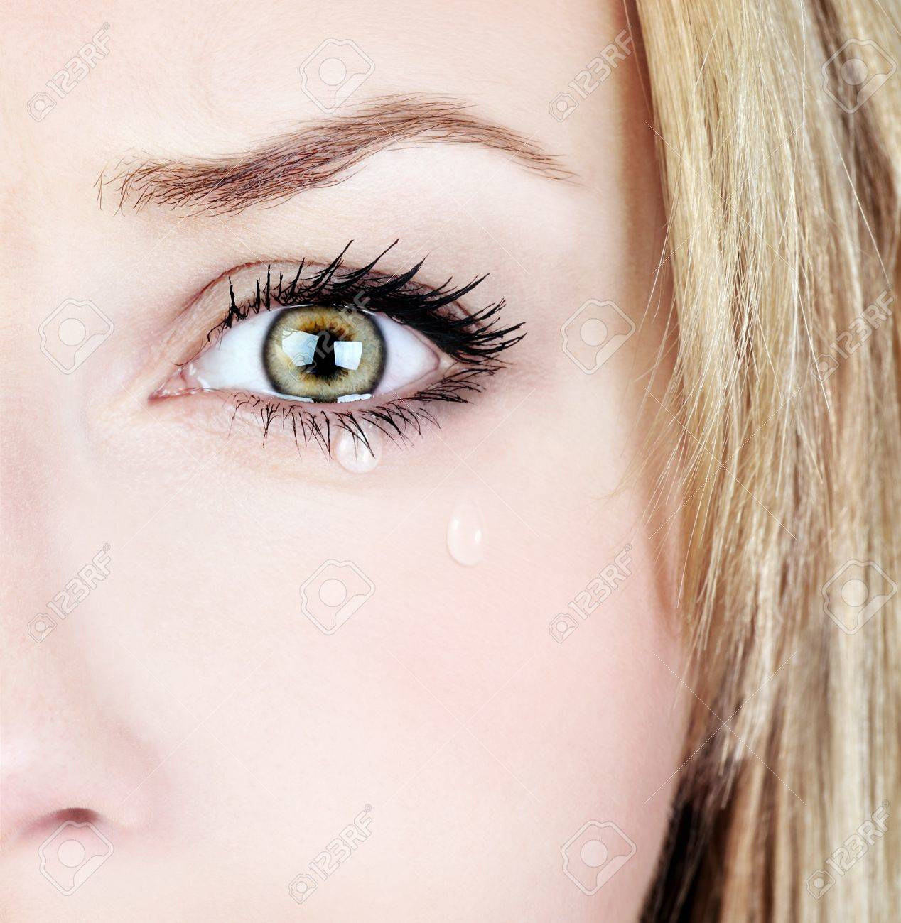 Crying woman, beautiful face with tear drops, facial expression, pain and grief concept Stock Photo - 9824573