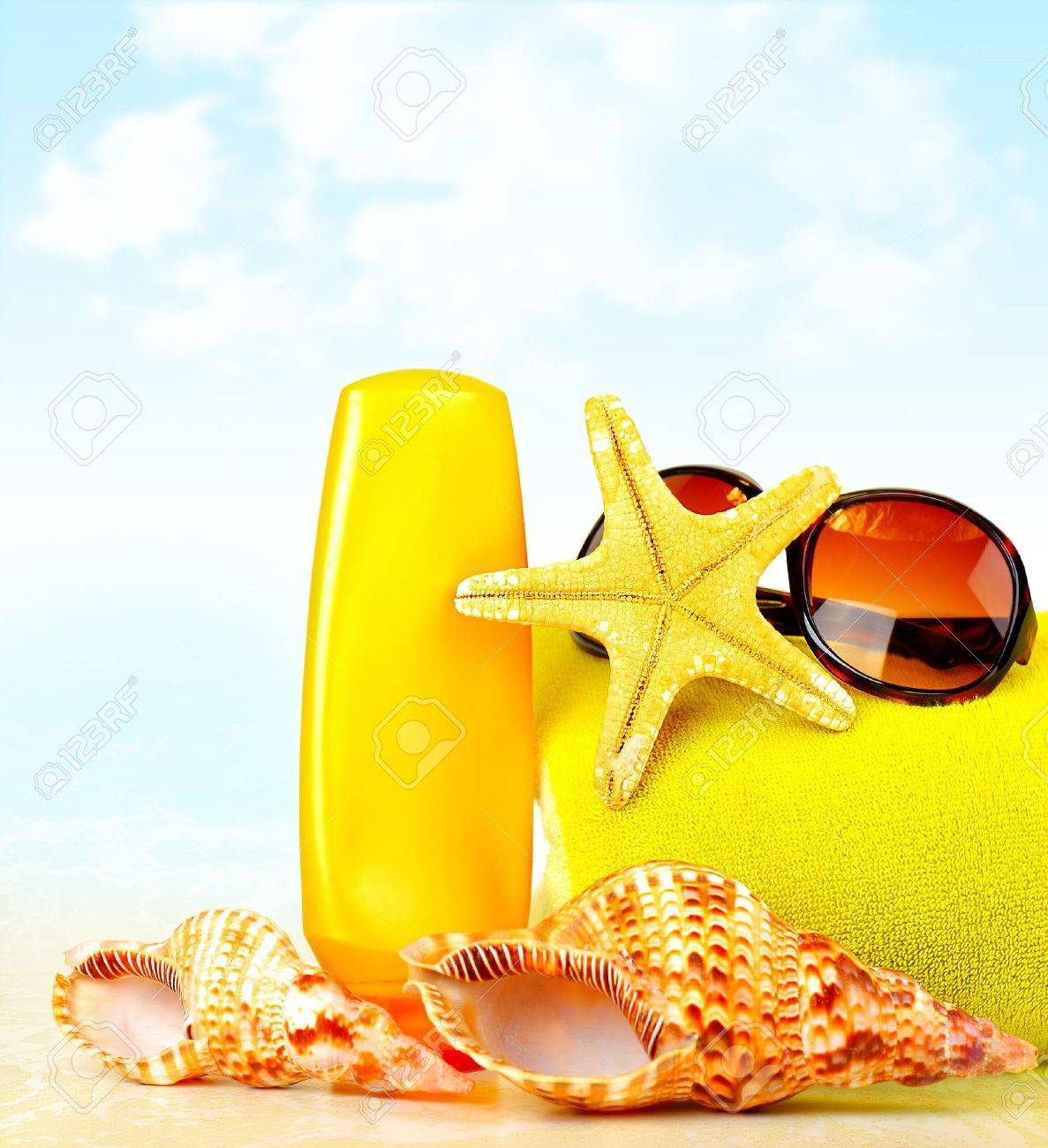 Summertime holidays background, beach objects on the sand, fun of travel concept Stock Photo - 10184067