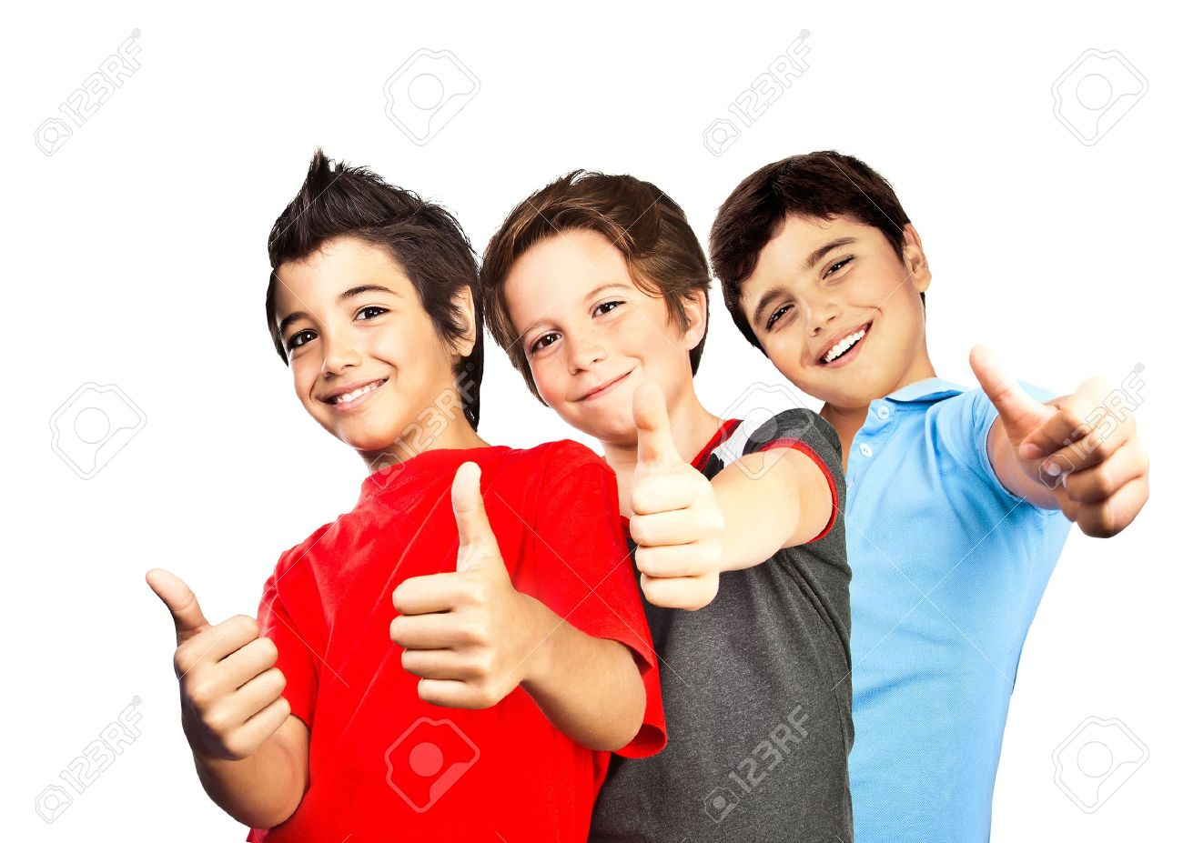Happy boys, teenagers smiling, thumbs up, portrait of best friends isolated on white background, cute kids having fun Stock Photo - 10649125