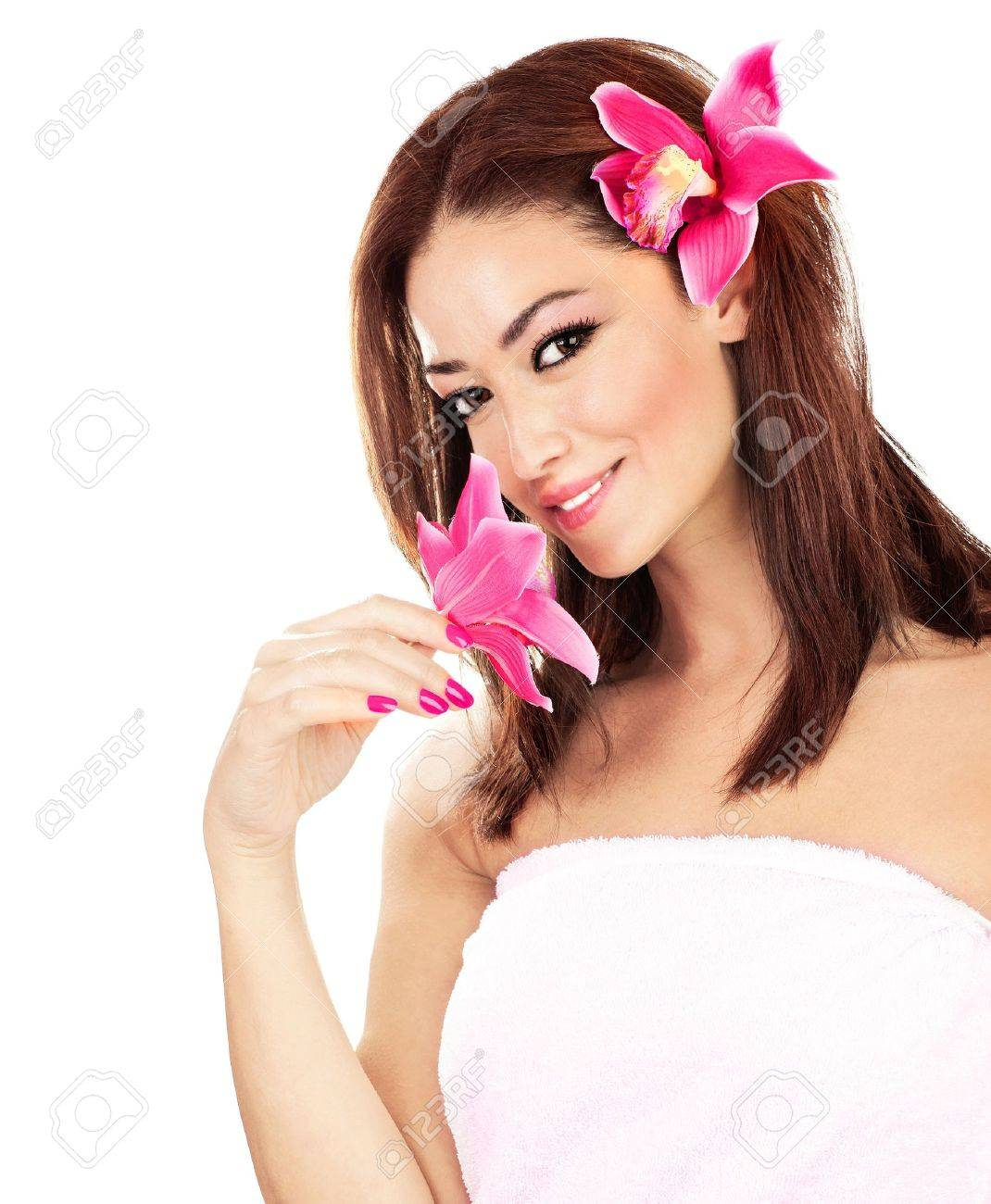 Pretty girl with pink flowers, isolated on white background, spa & relaxation concept Stock Photo - 10649132
