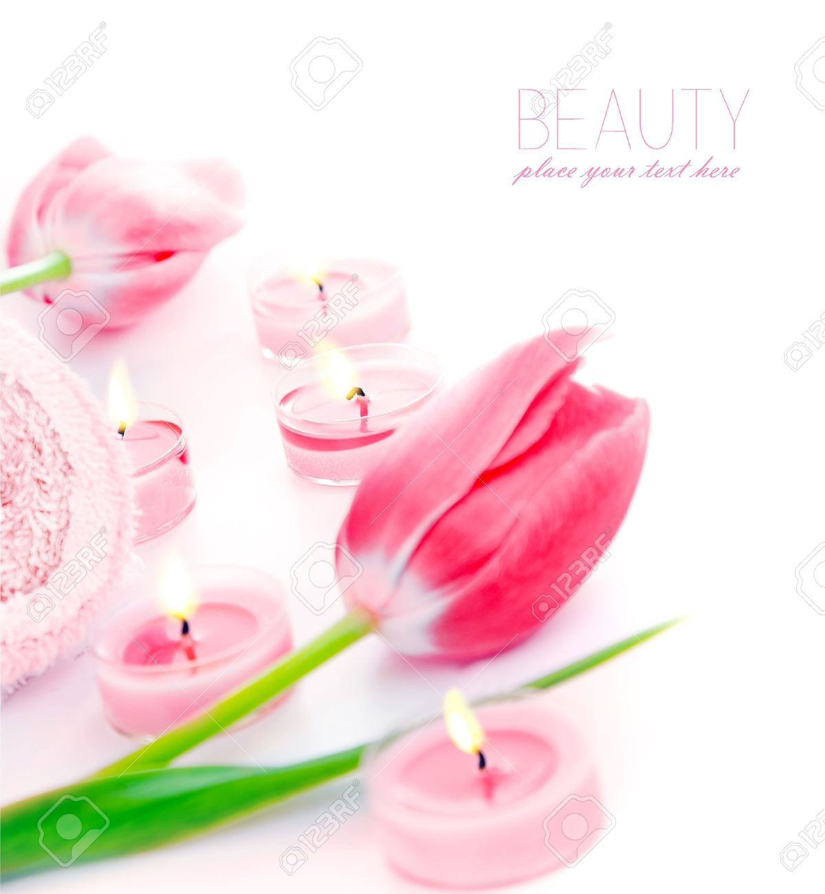 Spa Candle With Pink Tulip Flowers Aromatherapy Day Spa Salon