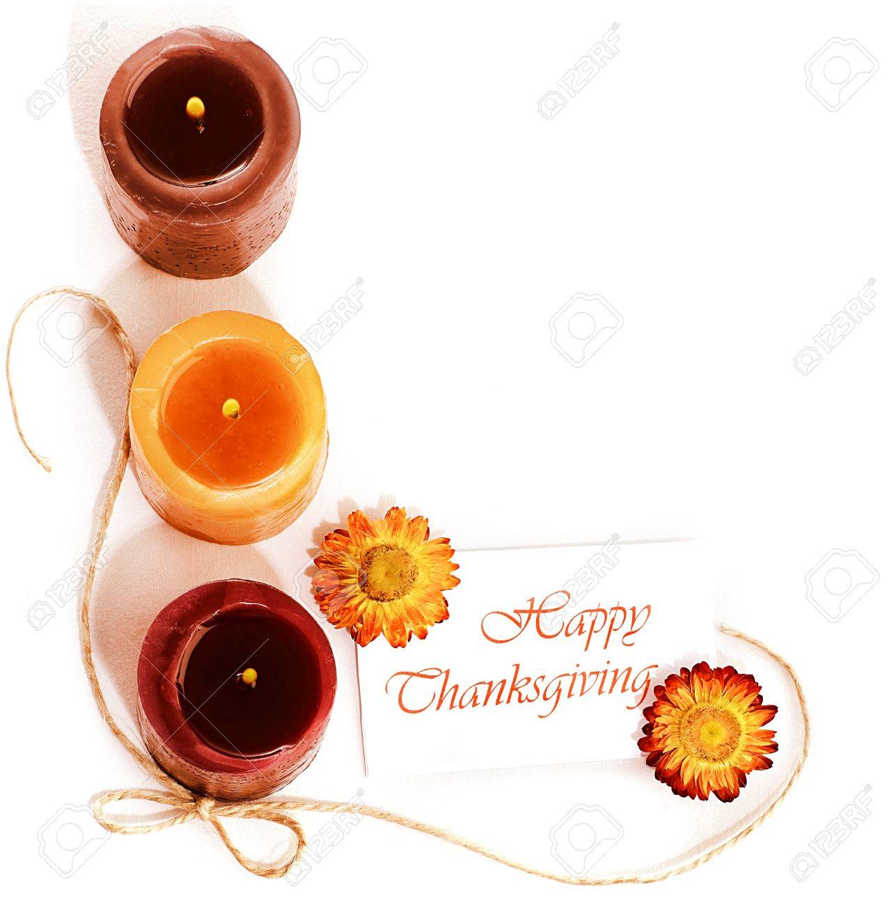 Thanksgiving holiday, border still life decoration with candles isolated over white background, greeting card with text space, harvest concept Stock Photo - 10942191
