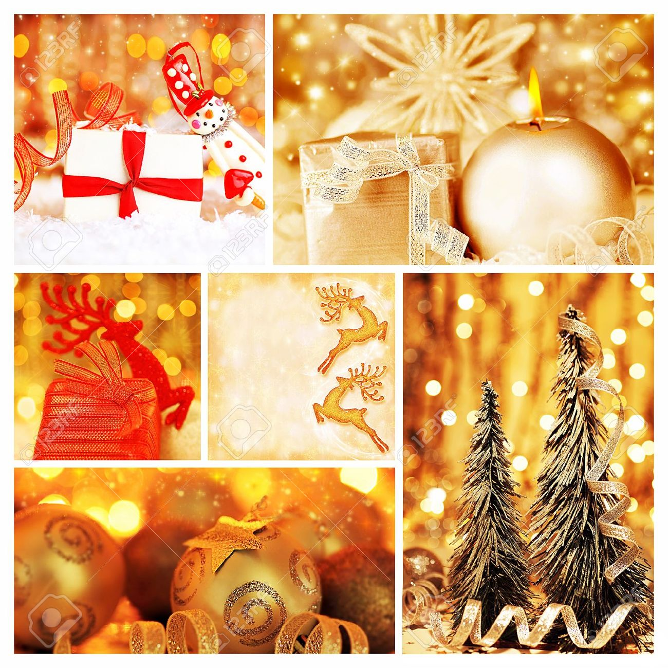 Golden Collage Of Christmas Tree Decorations, Diversity Of Gold Ornaments,  Winter Holiday Gifts And