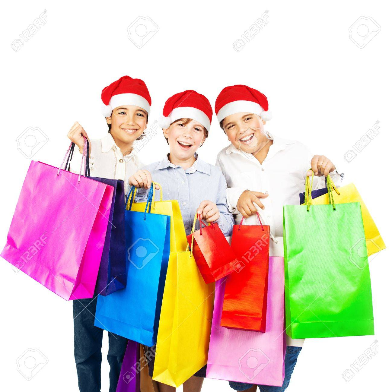 Happy Santa Boys With Gifts, Kids Carrying Colorful Shopping ...
