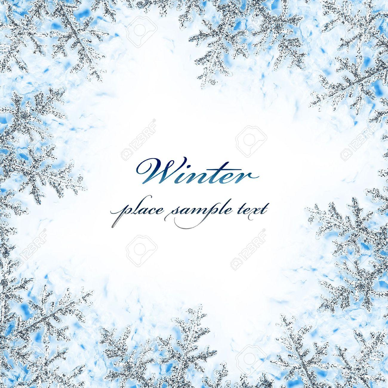 Copo De Nieve Marco Decorativo, Hermoso Fondo Azul Fría Nieve Helada ...