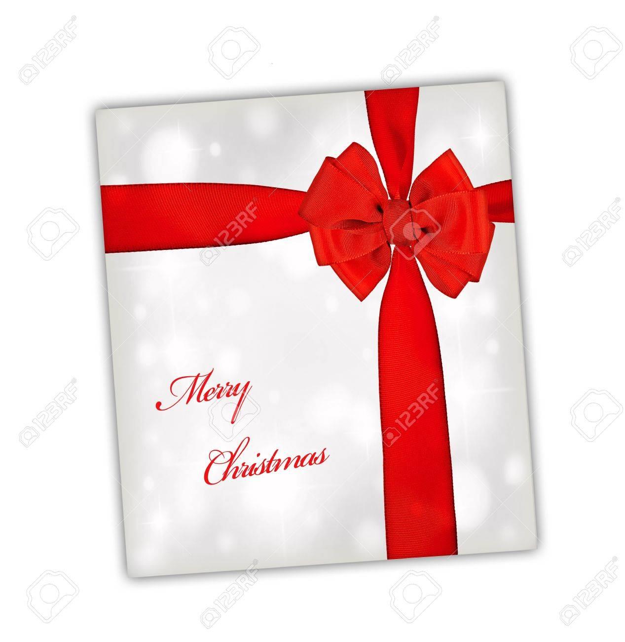 Frohe Weihnachten Grusskarte Mit Rotem Band, Big Seide Bogen über ...