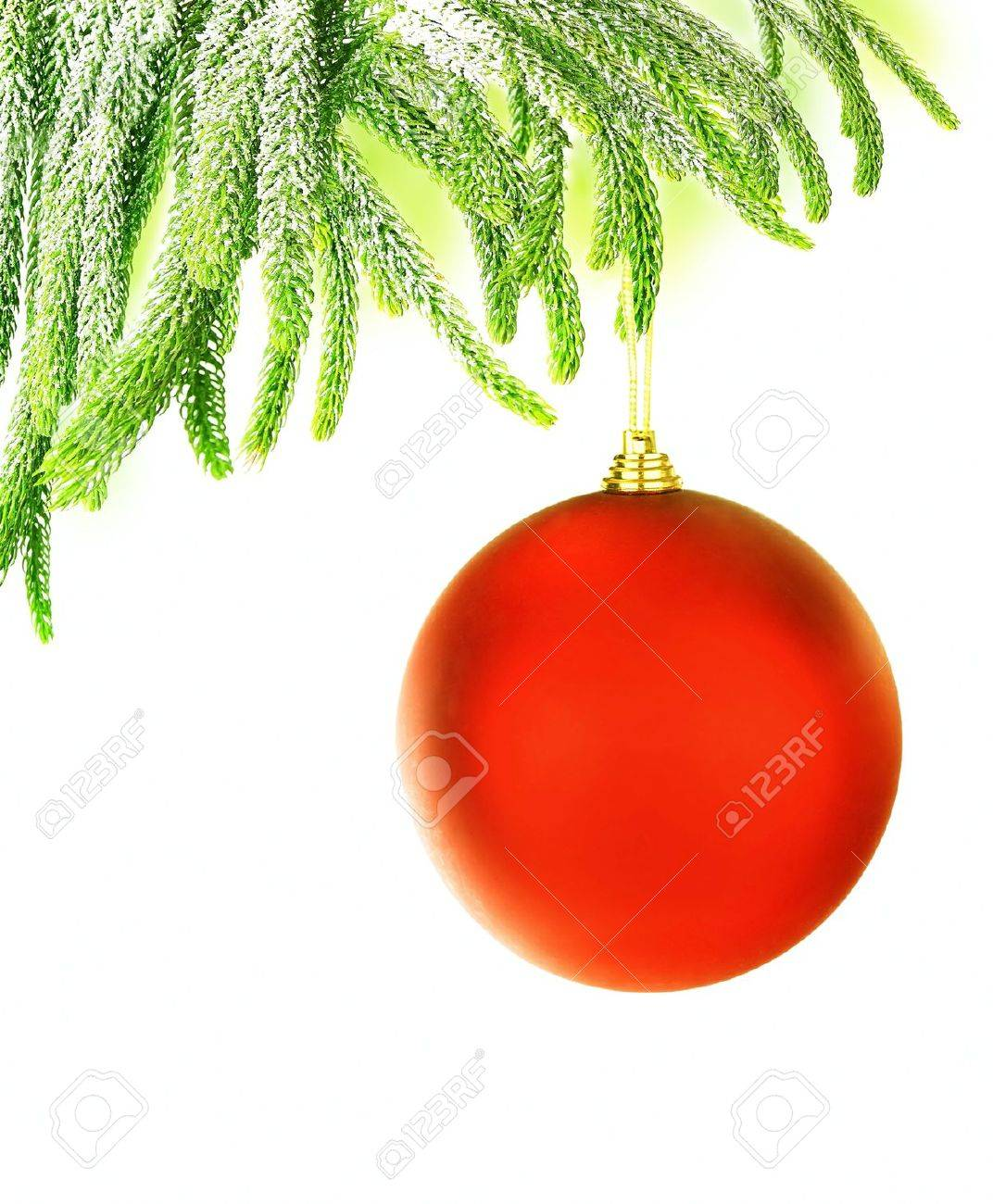 Christmas tree green border with big red hanged bauble, traditional ornament and decoration for winter holidays, isolated on white background Stock Photo - 11600174