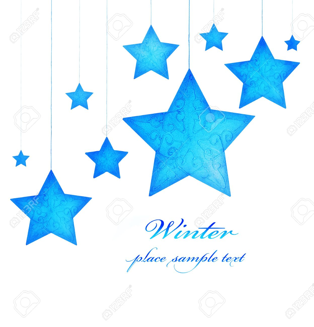 Blue Stars Border, Christmas Tree Ornaments And Holiday Decorations  Isolated On White Background, Greeting