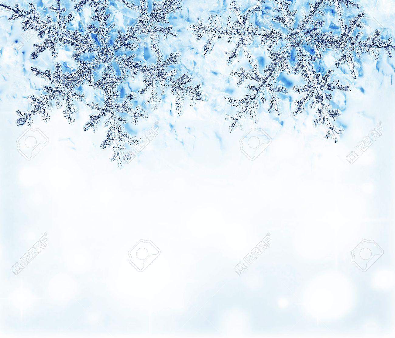 Schneeflocke Blau Dekorativen Rand, Schöne Blaue Kälte Gefrorenen ...