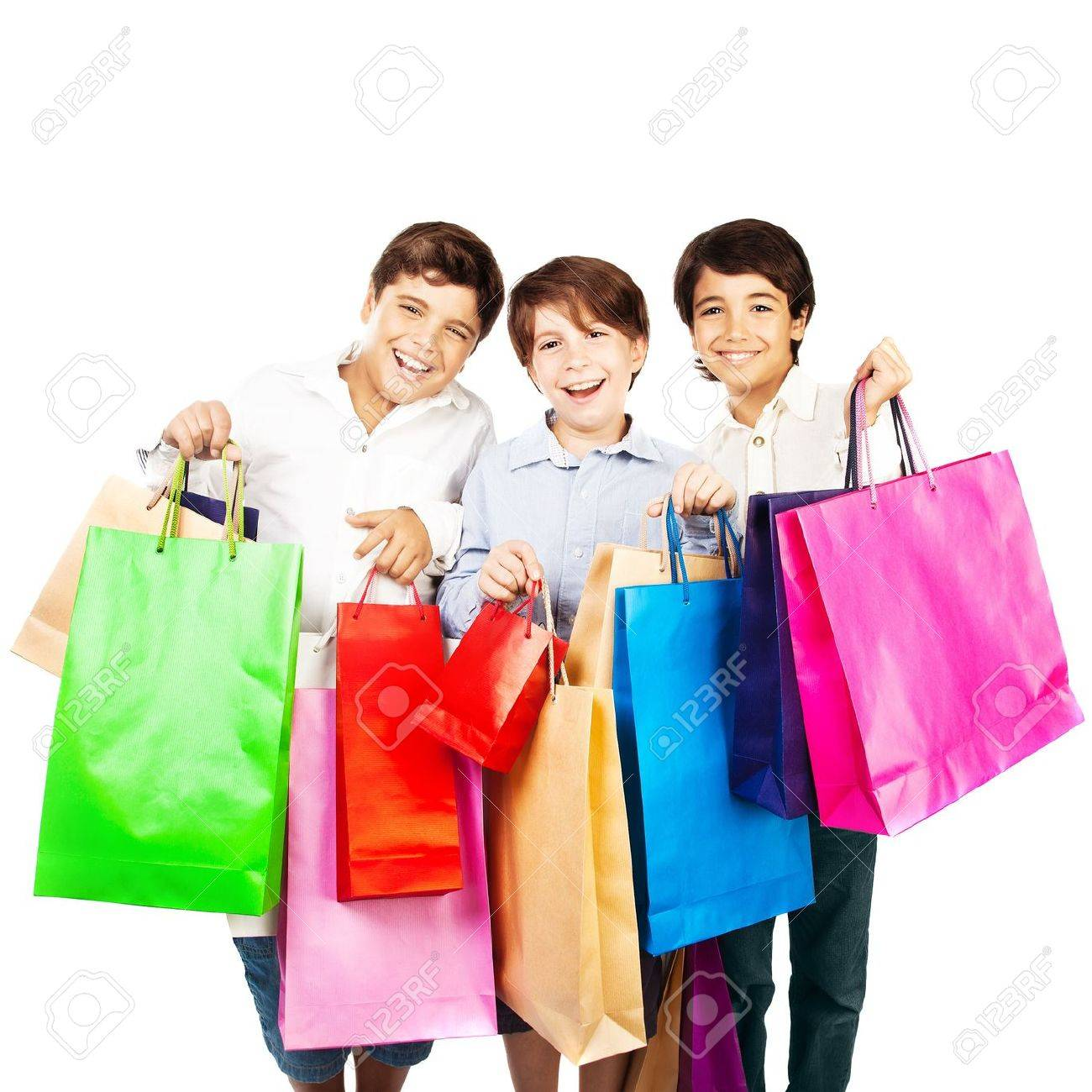 Happy Boys With Gifts, Kids Carrying Colorful Shopping Bags With ...