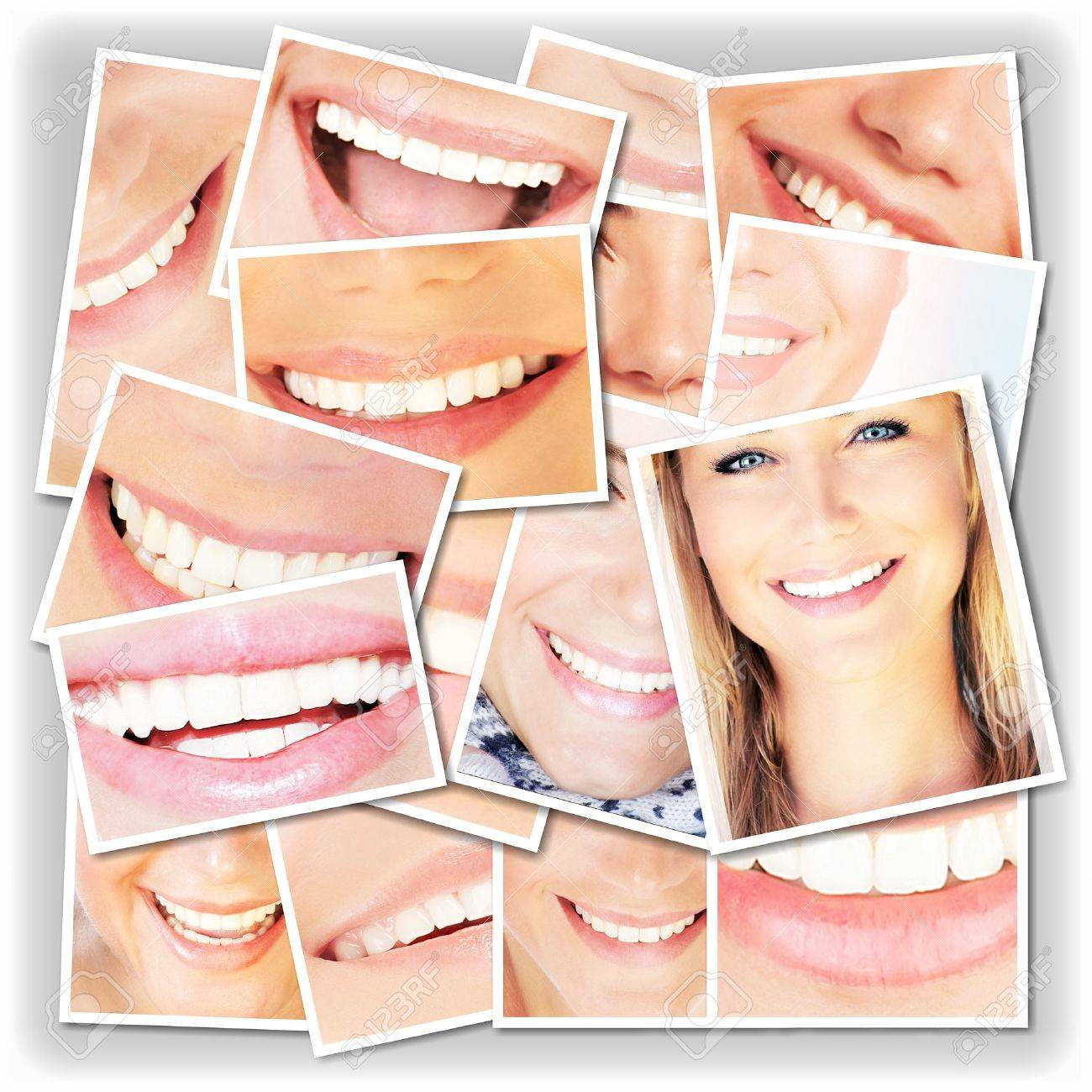 Smiling faces collage, happy young girls laughing, close up on beautiful healthy female lips and teeth, dental care concept Stock Photo - 13077473
